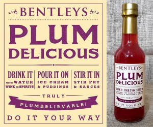 Bentleys Plum Delicious Plum Syrup with bottle